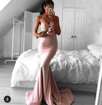2017 Long Prom Dress Strapless Mermaid Prom Dress/Evening Dress MK529 - DemiDress.com