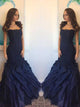Navy Blue Evening Dress, Mermaid Ruffle Organza Strapless Prom Dress Evening Dress MK540