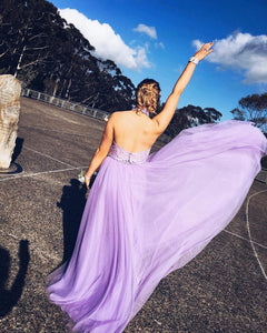 Halter Prom Dress, A-line Long Lavender Tulle Prom Dress with Open Back MK543