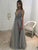 Sexy Prom Dress, A-line V-neck Evening Dress Grey Prom Long Dress with Side Slit JKL173