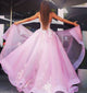 A-line Strapless Sweep/Brush Train Sleeveless Organza Prom Dress/Evening Dress # ON016