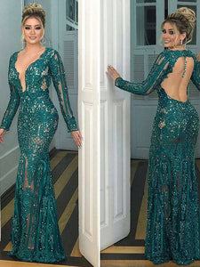 Trumpet/Mermaid V-neck Floor-length Long Sleeve Tulle Prom Dress/Evening Dress # ON035