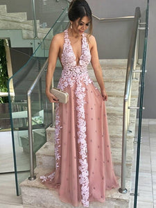 A-line Halter Floor-length Sleeveless Tulle Prom Dress/Evening Dress # ON056