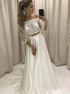 A-line Off-the-shoulder Floor-length 3/4-Length Satin Wedding Dress # ON058