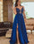 A-line Bateau Floor-length Sleeveless Elastic Woven Satin Prom Dress/Evening Dress # ON064
