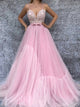 A-line Spaghetti Straps Sweep/Brush Train Sleeveless Tulle Prom Dress/Evening Dress # ON066