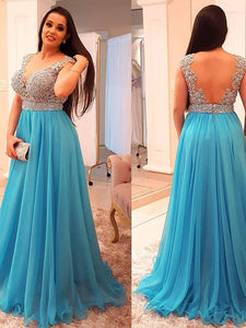A-line Scoop Floor-length Sleeveless Chiffon Prom Dress/Evening Dress # ON068