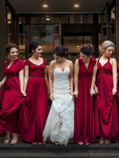 A-line Square Floor-length Short Chiffon Bridesmaid Dresses # ON074