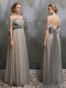 Cheap Prom Dress Off-the-shoulder Simple Silver Prom Dress/Evening Dress # VB1190