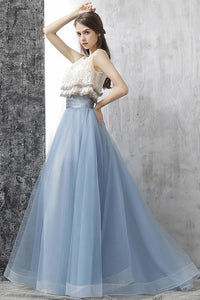 Two Pieces A-line Scoop Floor-length Tulle Blue Prom Dress Evening Drsess With Lace SKA030