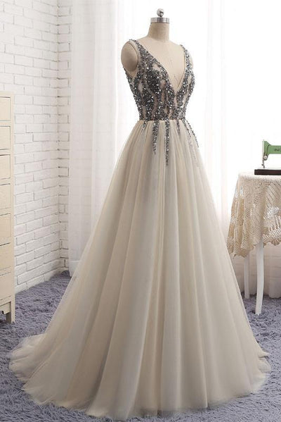 746150df76 A-line V-neck Floor-length Tulle Prom Dress Evening Drsess With Beading