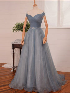 A-line Off-the-shoulder Floor-length Tulle Prom Dress Evening Drsess SKA033
