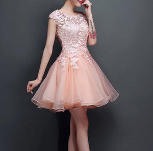 Pearl Pink Homecoming Dress A-line Scoop Short Prom Dress With Lace SKA052
