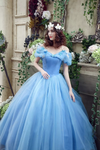 A-line Ball Gown Off-the-shoulder Tulle Blue Prom Dress Evening Drsess SKA054