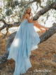 A-line Spaghetti Straps Chiffon Blue Prom Dress Evening Drsess SKA055