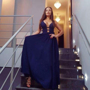 A-line Straps Chiffon Dark Navy Prom Dress Evening Drsess SKA056