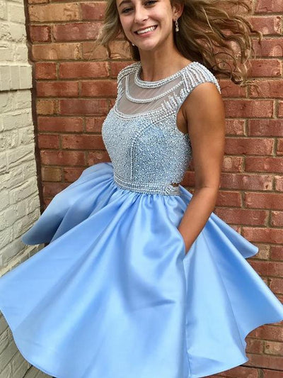 Charming A-line Scoop Blue Homecoming Dress Short Prom Drsess With Beading SKA084
