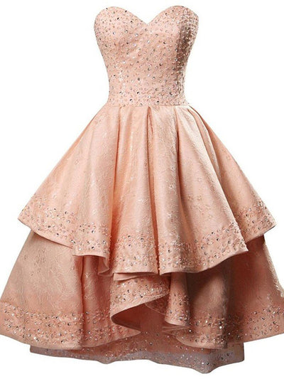 A-line Homecoming Dress Sweetheart Pearl Pink Short Prom Dress SKA106