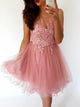 A-line Scoop Homecoming Dress Appliques Tulle Short Prom Dress SKA117