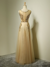 A-line Scoop Floor-length Tulle Prom Dress/Evening Dress #SKY001