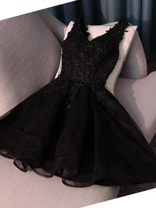 A-line Black Homecoming Dress Cheap Lace Homecoming Dresses SKY010