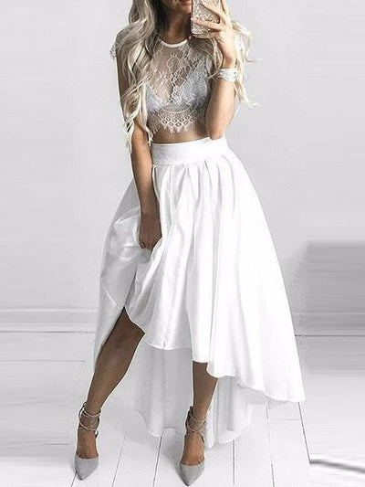 Two Pieces Homecoming Dress 2017 Short Prom Drsess Juniors Homecoming Dresses SKY108