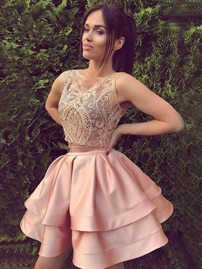 Pink Homecoming Dress A-line Short Prom Drsess Juniors Homecoming Dresses SKY128