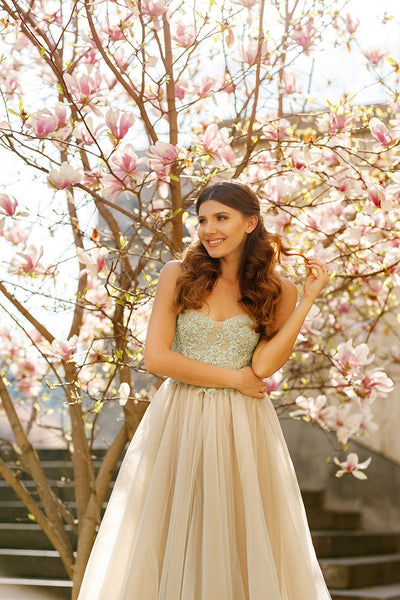 A-line Prom Dress Spaghetti Straps Prom Dresses/Evening Dress With Appliques SKY158
