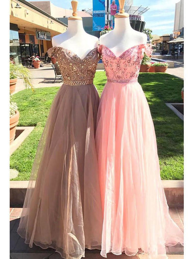A-line Prom Dress Off-the-shoulder Tulle Long Prom Dresses/Evening Dress SKY177
