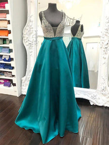 A-line Straps Floor Length Stain Prom Drsess/Evening Dress SKY182