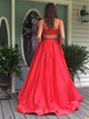 A-line Floor Length Satin Red Prom Drsess/Evening Dress SKY226