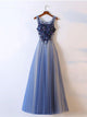 A-line Scoop Appliques Prom Dress Tulle Prom Dresses/Evening Dress SKY283