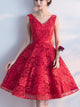 Red A-line Homecoming Dress V-neck Juniors Homecoming Dresses SKY310