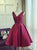 A-line Homecoming Dress V-neck Juniors Homecoming Dresses SKY316