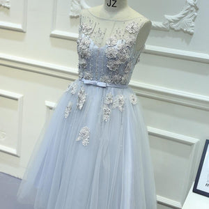 A-line Bateau Tulle Short Prom Dress Juniors Homecoming Dresses SKY324