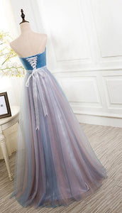 A-line Sweetheart Long Prom Drsess Evening Tulle Party Dresses SKY347