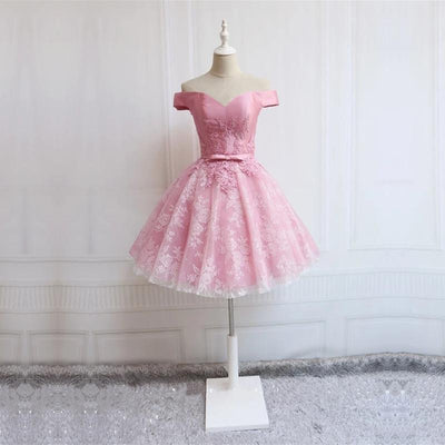 A-line Homecoming Dress Off-the-shoulder Tulle Short Party Dresses SKY373