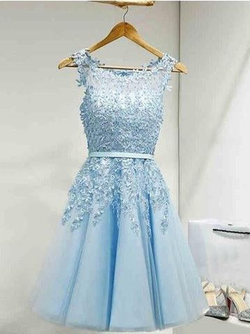 A-line Homecoming Dress Scoop Tulle Short Party Dresses SKY379