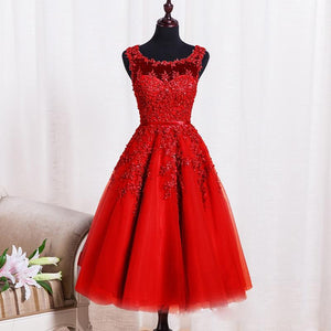 A-line Homecoming Dress 2017 Scoop Tulle Short Party Dresses SKY382