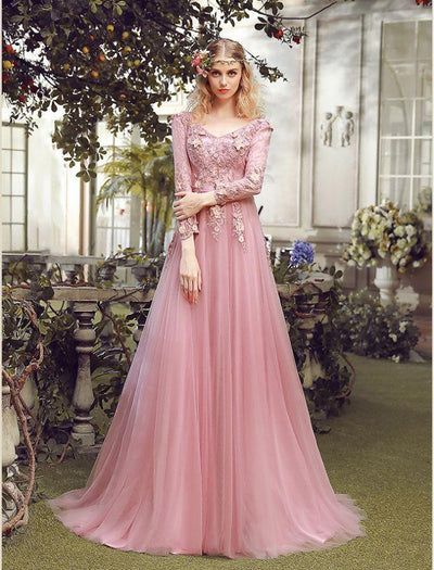 2017 A-line V-neck Tulle Prom Dress Appliques Evening Gowns SKY432 - DemiDress.com