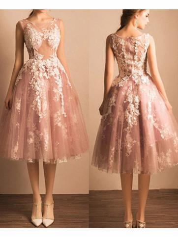 2017 A-line Scoop Tulle Short Prom Drsess Prom Dress SKY435