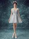 2017 A-line V-neck Tulle Short Prom Drsess Homecoming Dress SKY439 - DemiDress.com