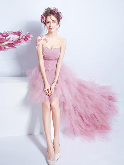 A-line Sweetheart Asymmetrical Prom Drsess Juniors Homecoming Dresses SKY444