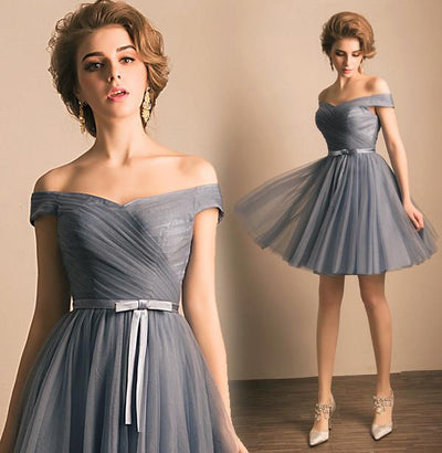 A-line Off-the-shoulder Short Prom Drsess Juniors Homecoming Dresses SKY458