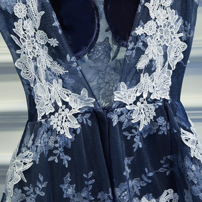 2017 A-line Scoop Appliques Prom Drsess Dark Blue Homecoming Dress SKY479 - DemiDress.com