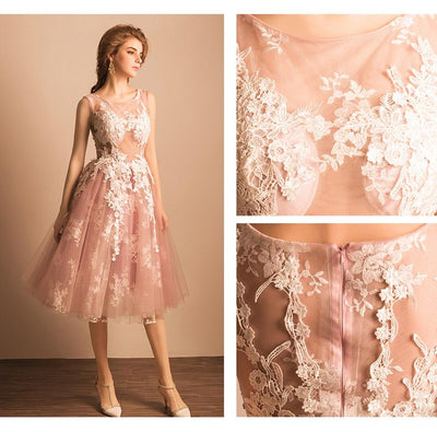 2017 A-line Scoop Tulle Prom Drsess Homecoming Dress SKY486 - DemiDress.com