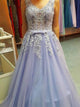 2017 A-line V-neck Long Prom Drsess Tulle Evening Gowns SKY560 - DemiDress.com