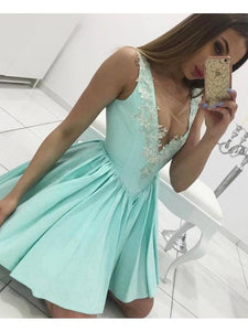 A-line Scoop Short Prom Drsess Juniors Homecoming Dresses SKY589