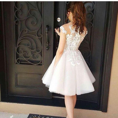 2017 A-line Bateau Prom Drsess Juniors Homecoming Dresses SKY608 - DemiDress.com