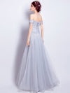 A-line Off-the-shoulder Floor Length Tulle Prom Drsess Evening Gowns With Lace SKY655